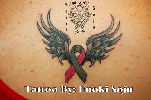 8_Brain Cancer Ribbon Wing Tattoo