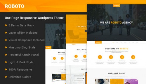 Roboto - One Page Responsive WordPress Theme