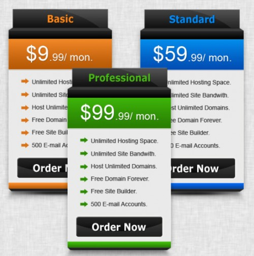 Free Semi 3D Pricing Table