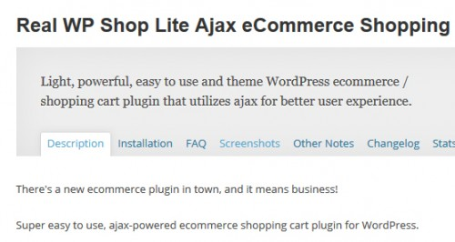 Real WP Shop Lite Ajax eCommerce Shopping Cart