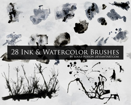 28 Ink and Watercolor Brushes for Photoshop
