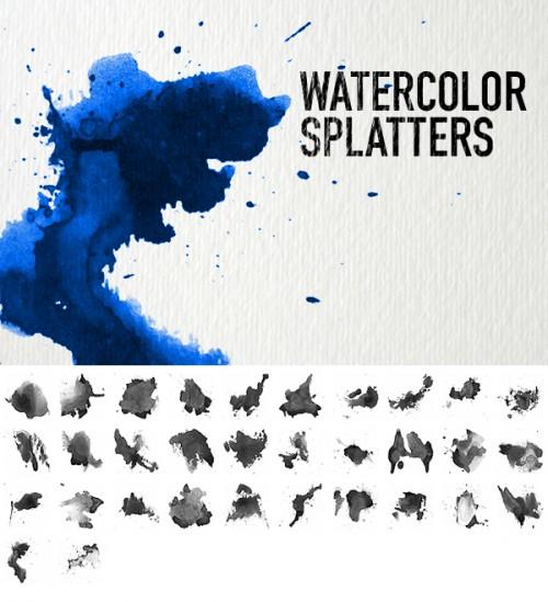 32 High Resolution Watercolor Splatter Brushes