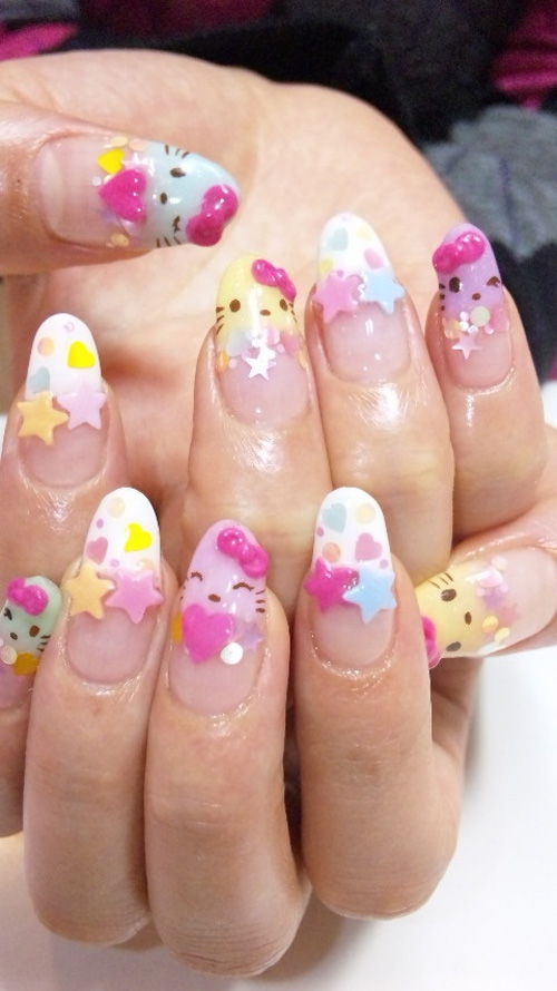 Cool Hello Kitty Nail Art Designs