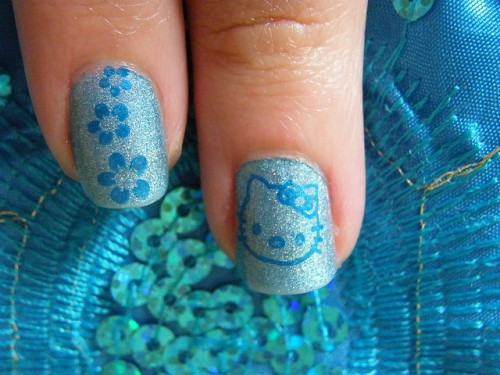 Cute Blue Hello Kitty Nails