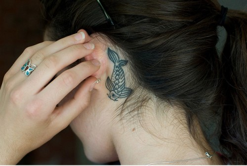 Girls Ear Koi Fish Tattoos