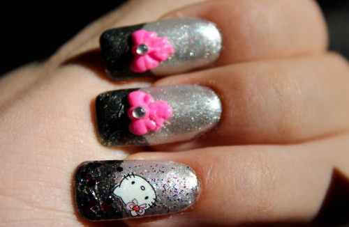 Hello Kitty 3D Ribbon Nail Art Design
