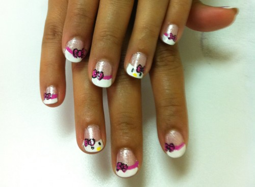 Hello Kitty French Manicure Nail Art
