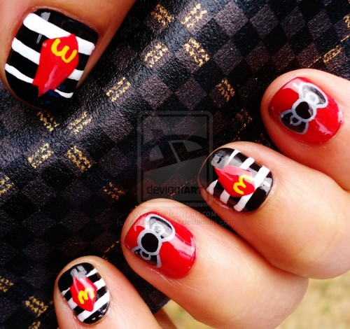 Hello Kitty X Hamburglar Nail Art