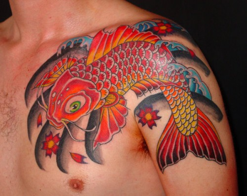 Traditional Shoulder Koi Fish Tattoos