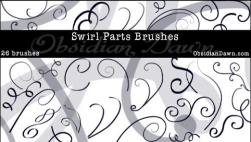 26 Swirl Parts Photoshop Brushes