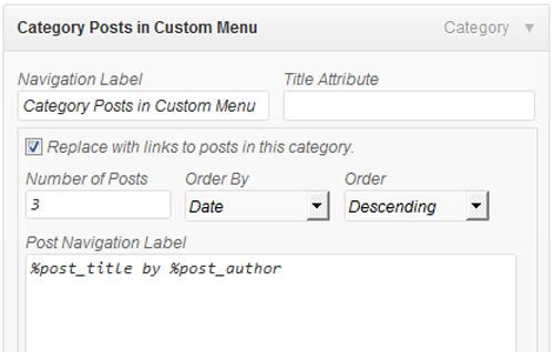 Category Posts in Custom Menu