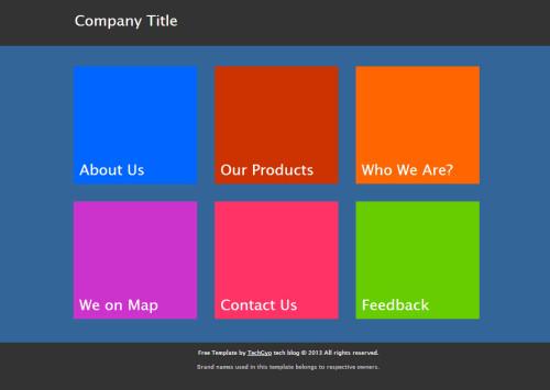 Free HTML Metro UI Template