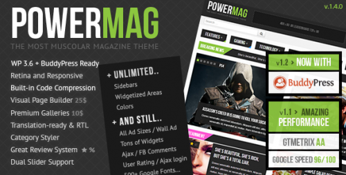 PowerMag: Muscular Magazine, Reviews Theme