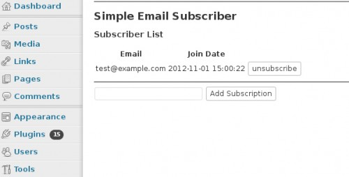 Simple Email Subscriber