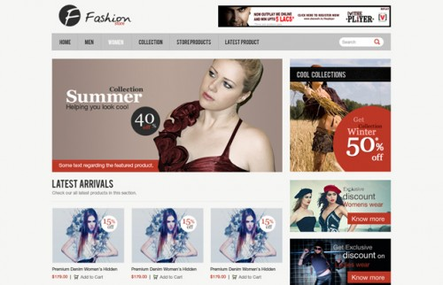 Clean e-Commerce Web Template PSD