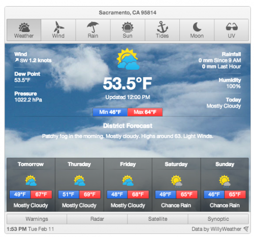 US Weather Widget - WillyWeather
