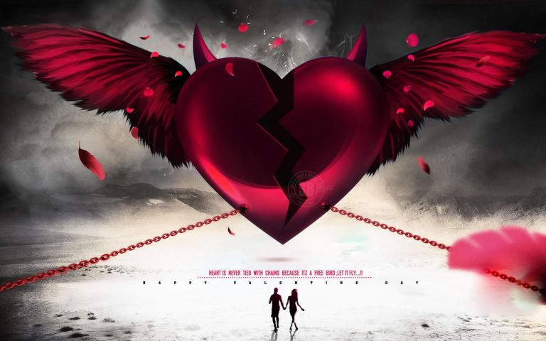 Broken Heart With Wings Wallpaper